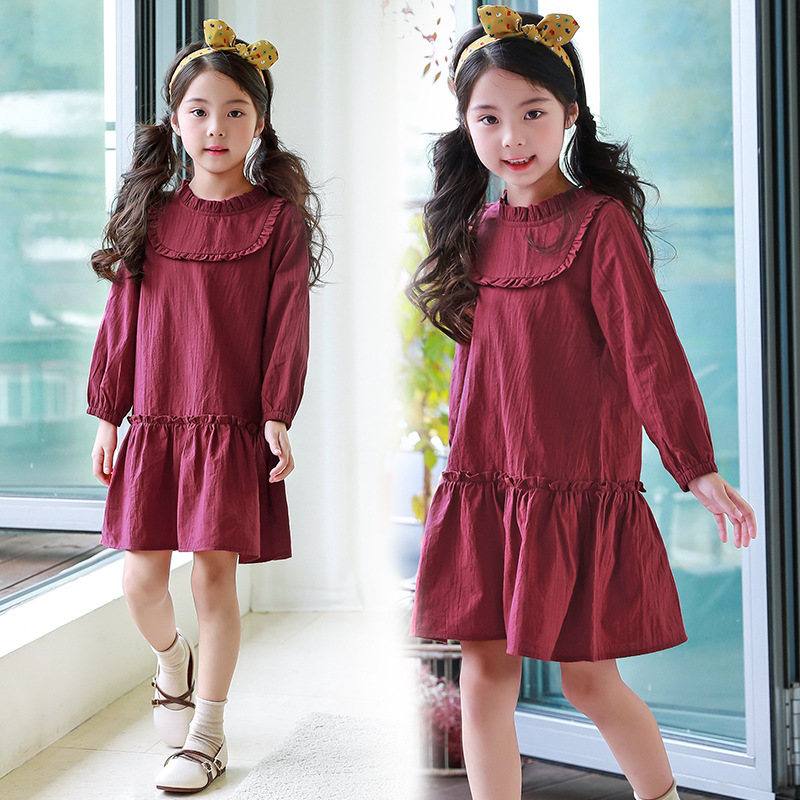 2018 New Baby Comfortable Dress Girls Cotton Dress Kids Spring Dress Toddler Clothes Children Ruffles Dress,2547 db4368 davebella spring new girls cotton floral dress princess dress children boutique dress sakura dress