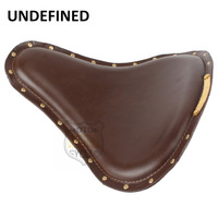 Universal Motorcycle Brown Leather Slim Large Copper Rivet SOLO Seat Cafe Racer For Harley Sportster Bobber Chopper UNDEFINED