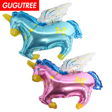 Decorate Home 48x32cm pink blue unicorn horse foil balloons wedding event christmas halloween festival birthday party HY-88