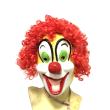 Hot Sale Funny Clown Headgear Red-haired green-eyed big-nosed clown Mask Stage Wedding Festival Show Bar Halloween Funny Mask stage performance show clown style mask white red