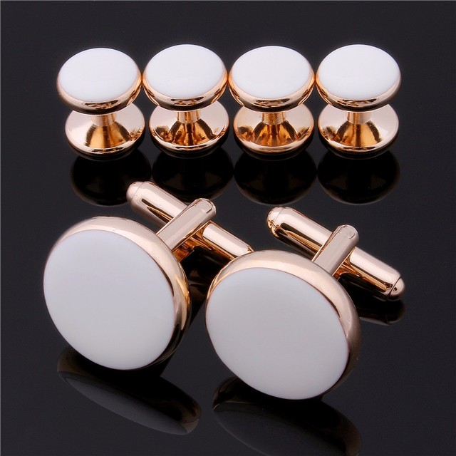New Arrival Rose Gold Plated With White Polished Enamel Pretty Unique Cuff links & 6 Studs Set