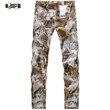 2016 New Mens Snakeskin Printed Jeans Slim Fit Skinny Night Club DJ Trousers Pants Slacks For   Male Plus Size