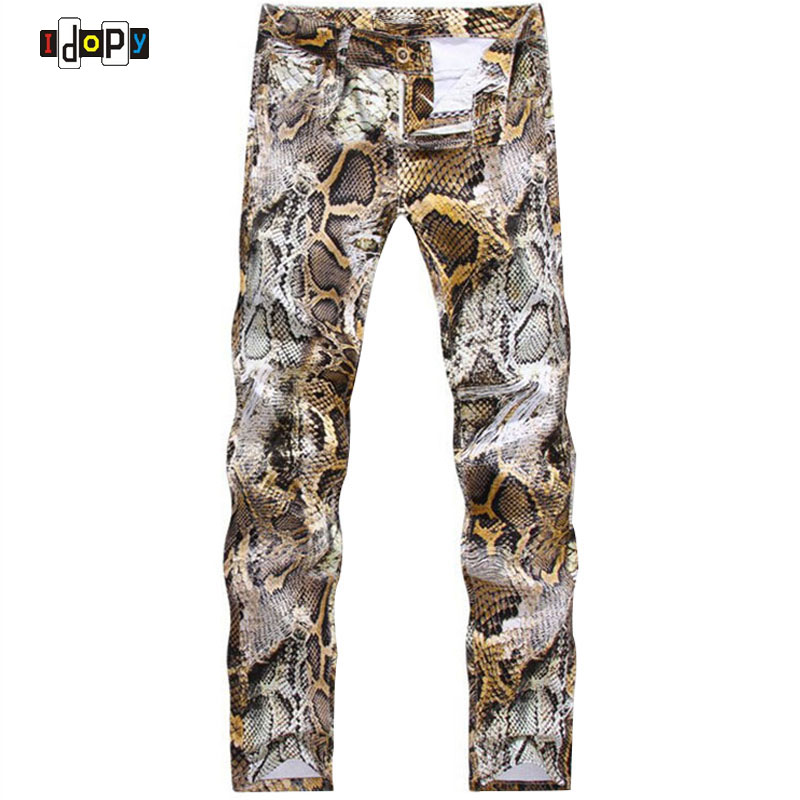 2017 New Mens Snakeskin Printed Jeans Slim Fit Skinny Night Club DJ Trousers Pants Slacks For