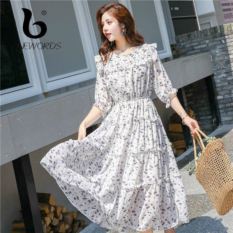 FINEWORDS rétro élégant blanc mousseline de soie fête robe Midi imprimé Floral été Kawaii robes coréen manches bouffantes dîner robes mignon