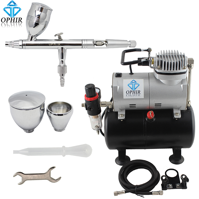 OPHIR Model Airbrush Compressor Kit Set 110V 220V Air Tank Compressor w/ Airbrush Paint for Makeup Hobby Nail Art Tool_AC090+006