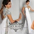 Luxuoso de Um Ombro Sereia Vestidos de Baile Árabe Do Oriente Médio Mulheres Colorido de Cristal Lantejoulas 2017 Vestido Longo Vestido de Noite