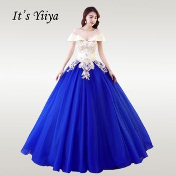 It's YiiYa Wedding Dress Elegant Boat Neck Floor Length Pink Wedding Dresses Embroidery Beading Lace Vestido de novia CH005