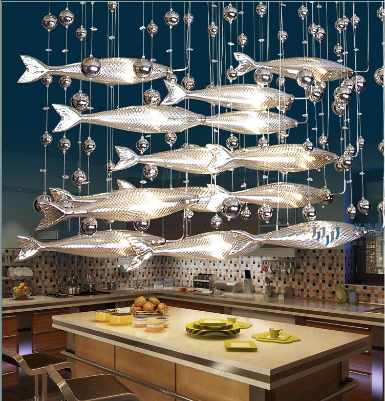 Novel Creative Crystal Glass Flying Fish Chandelier For