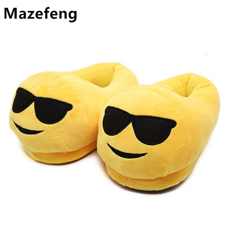 New 2017 Men&Women Emoji Slippers Winter Warm Cotton Plush Slipper Emoji Shoes Indoor Shoes Soft Cartoon Slipper Unisex 015-7 cry emoji cartoon flock flat plush winter indoor slippers women adult unisex furry fluffy rihanna warm home slipper shoes house