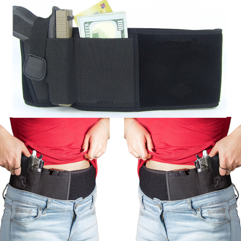 New Belly Band Holster Left & Right Hand Concealed Carry Gun Holster Fits All Pistols Size Black For Hunting & Airsoft Sports