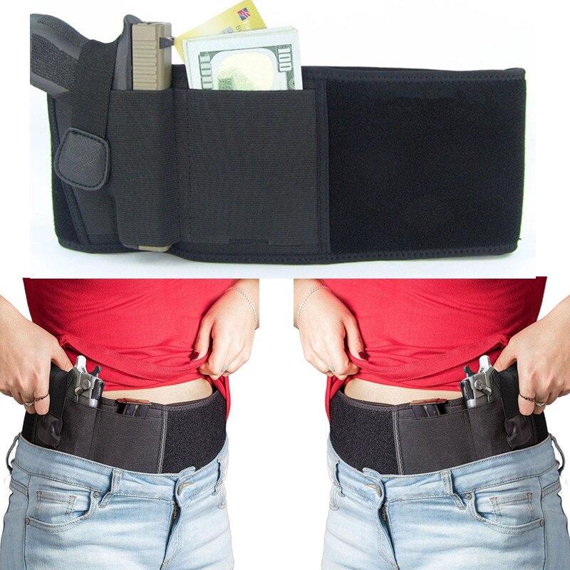 Nouveau Ventre Bande Étui Gauche et Droite Main Caché Portez Pistolet étui Unique Pistolets Taille Noir pour La Chasse et Airsoft Sport