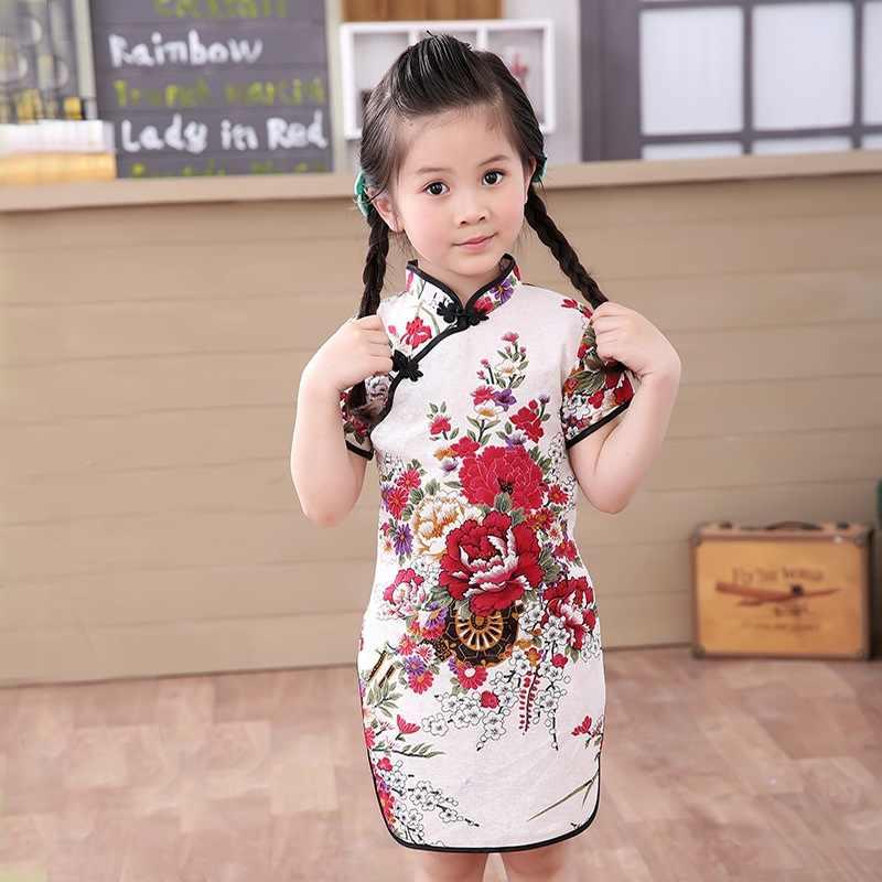... Bebé niña Chi-Pao de manga corta vestidos de moda de 2019 chino Año  Nuevo ... f1e4fd1867f