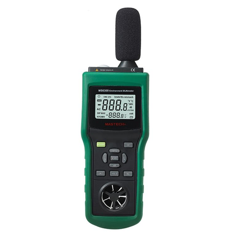 Digital multifunction tester temperature/humidity/illuminance/air/velocity/ air flow /sound level anemometer wind speed meter  цены