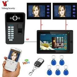 YobangSecurity черный 3X7 дюймов Wi-Fi Беспроводной видеонаблюдения Домофонные дверной звонок отпечаток пальца камеры разблокировать Cryptograph двери
