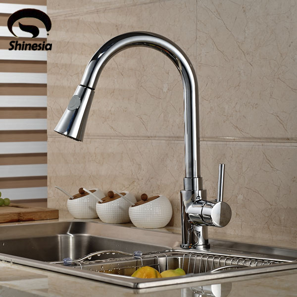 Chrome Brass Kitchen Sink Faucet Deck Mount Pull Out Hot Cold Mixer Water Taps цена