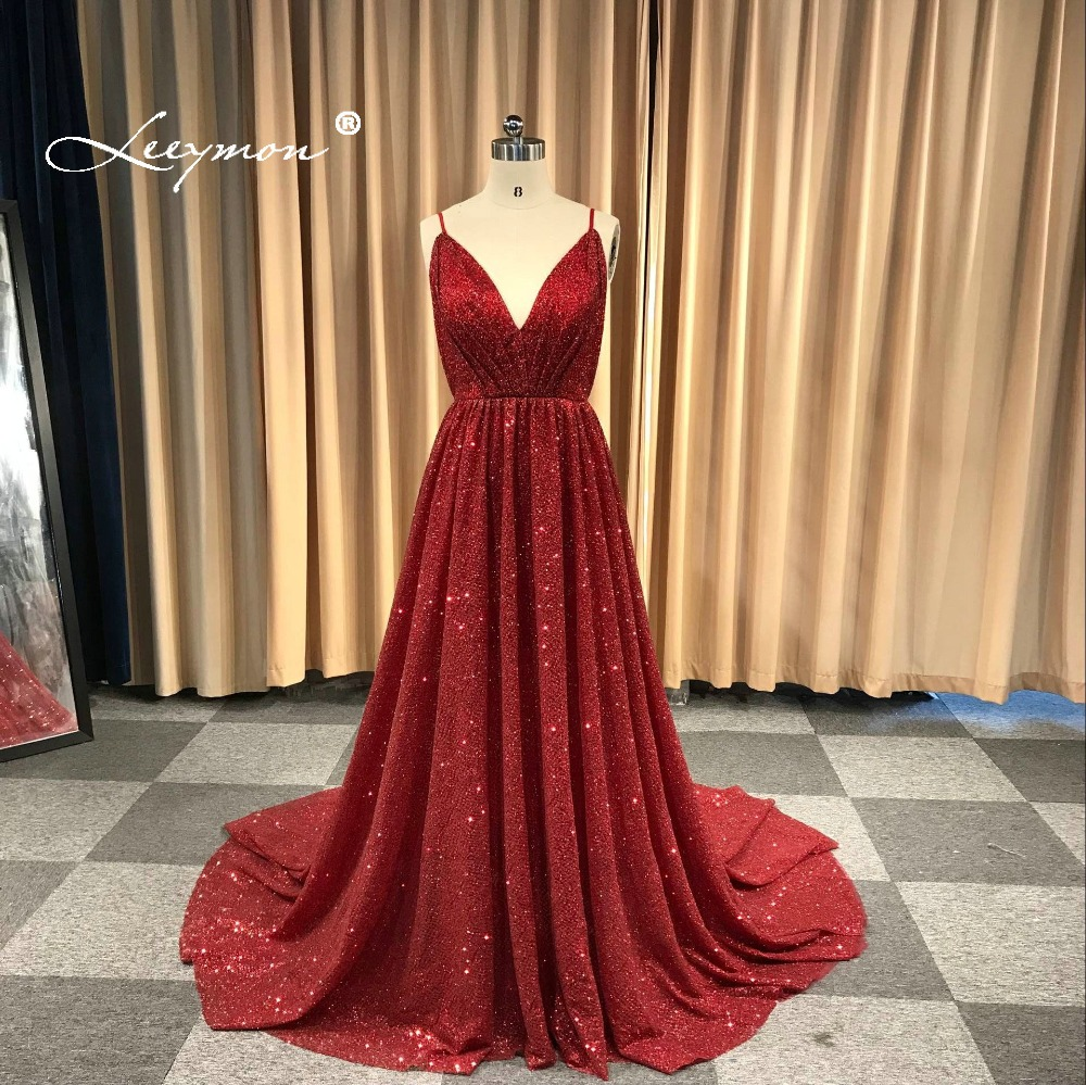 Leeymon 2019 Custom Made Sexyb Glitter Spaghetti Straps Backless A-Line   Prom     Dress   Floor Length Dark Red   Dresses