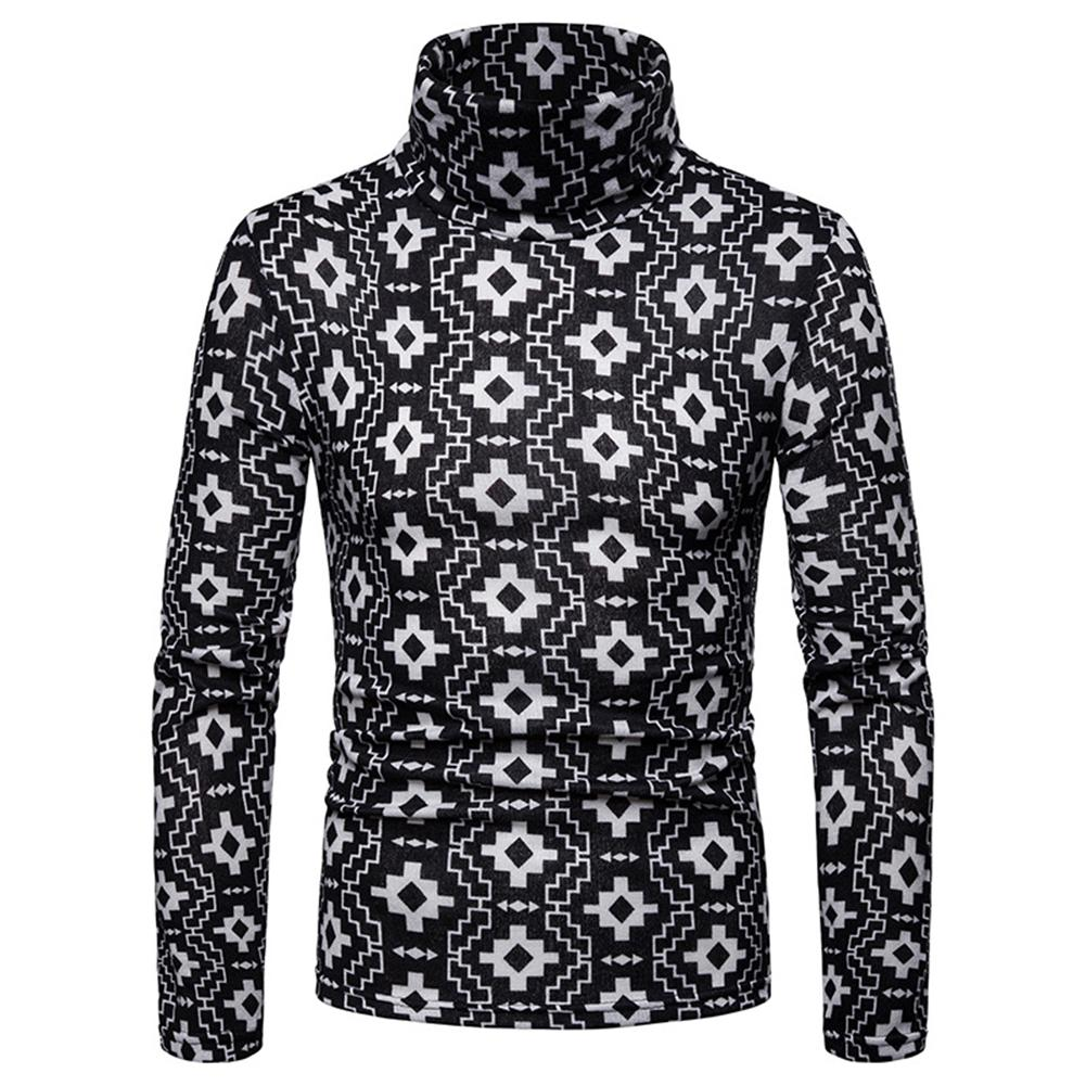 Sanwood Simple Geometric Print Winter High Neck Long Sleeve Jumper Men Slim Pullover