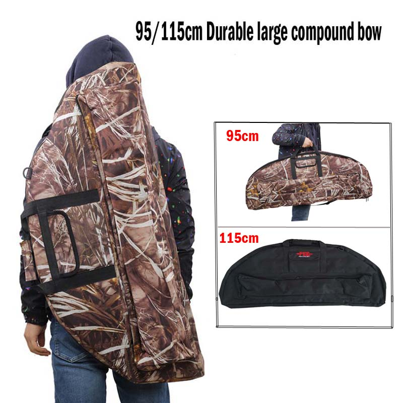 95/115cm Archery Compound Bow Bag Padded Layer Foam Bow Holder Arrow Tube Protect Camouflage Compound Bow Case Protector