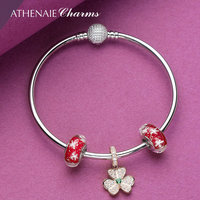 ATHENAIE 925 Sterling Silver Rose Gold Shamrock Hearts Pendant with Red Snowflake Glass Beads Complete Bracelets & Bangles