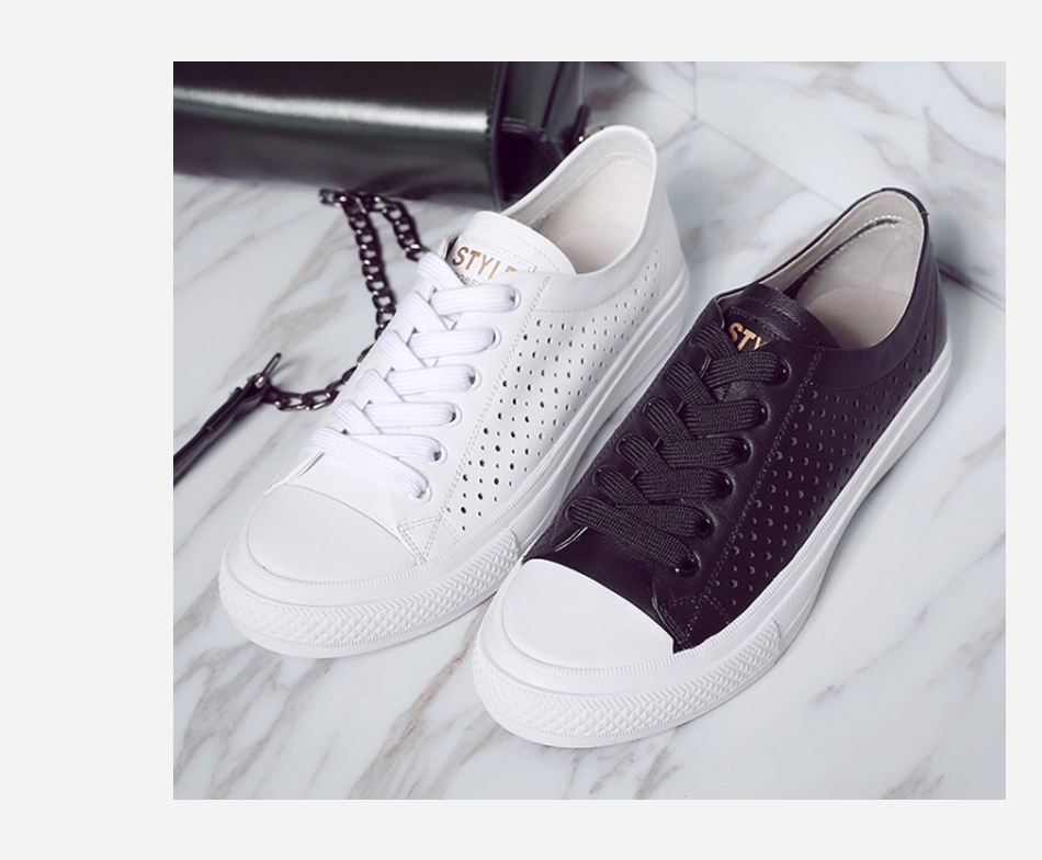 Donna-in 2019 New Women Flats Sneakers Genuine Leather Shoes Lace-up Cut-outs Flat Casual Women Shoes Hollow Summer Black White (16)