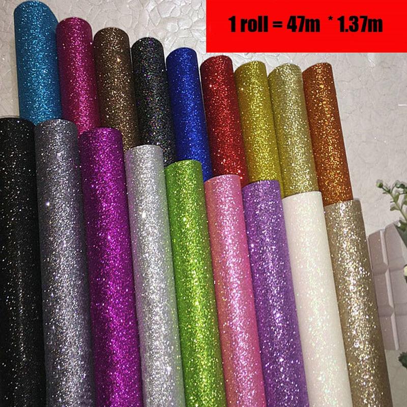 Tissu Textile revêtements muraux lumière argent paillettes papier peint rouleau, noir paillettes décoration de la maison revêtements muraux