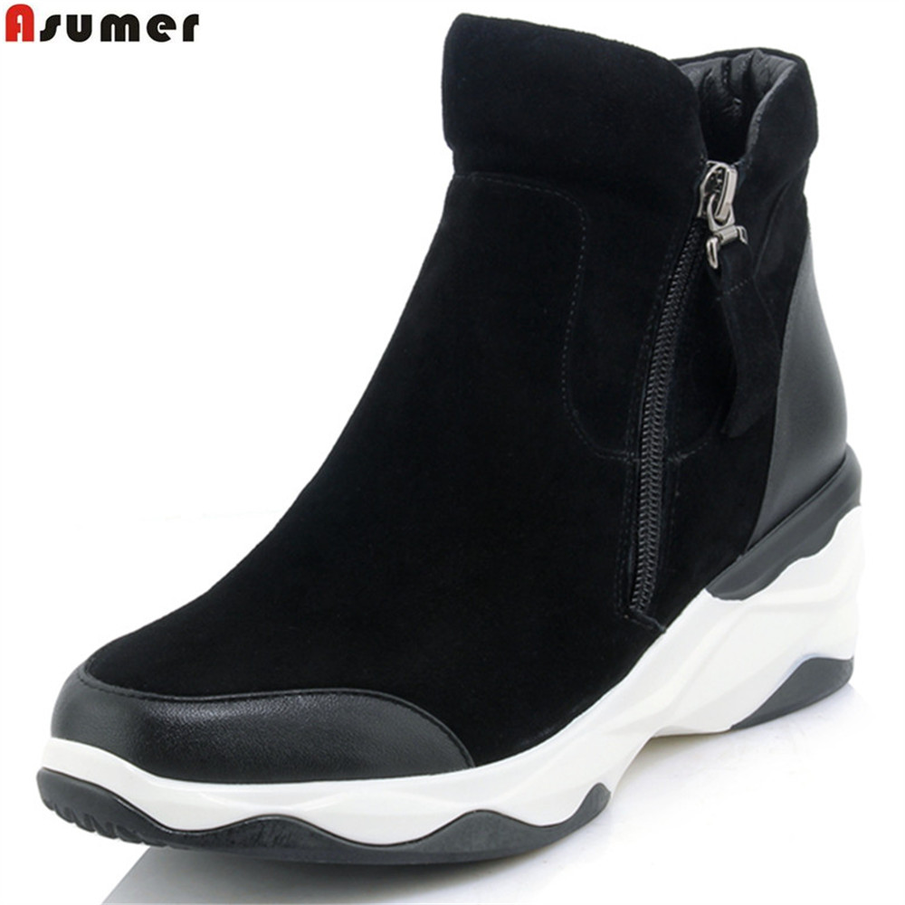 Asumer black Golden fashion women boots round toe zipper genuine leather+kid suede boots round toe ankle boots wedges new arrival superstar genuine leather chelsea boots women round toe solid thick heel runway model nude zipper mid calf boots l63