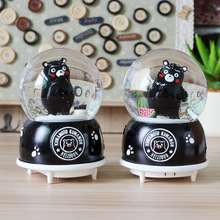 Cartoon Kumamoto Bear Crystal Ball Music Box Rotary Snow Music Box Children Creative Gift