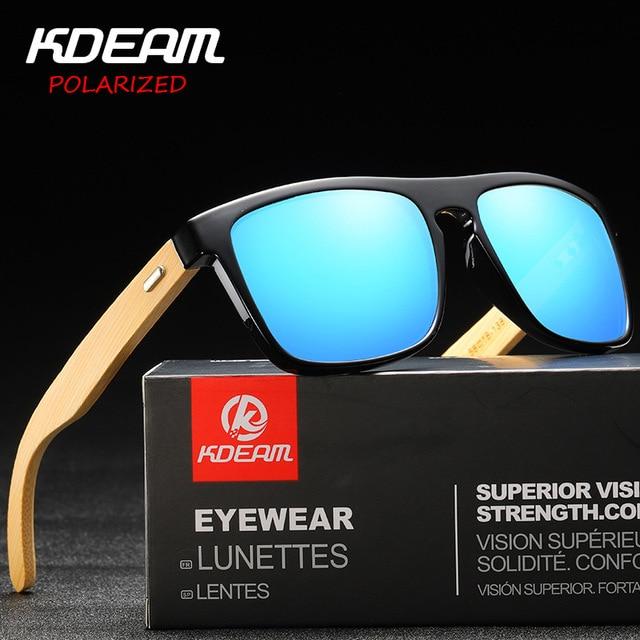 Fashion Polarized Sunglasses Men KDEAM Brand Square Frame Bamboo Legs Sunglasses Driving Mirror Sun Glass Male Eyewear KD8803