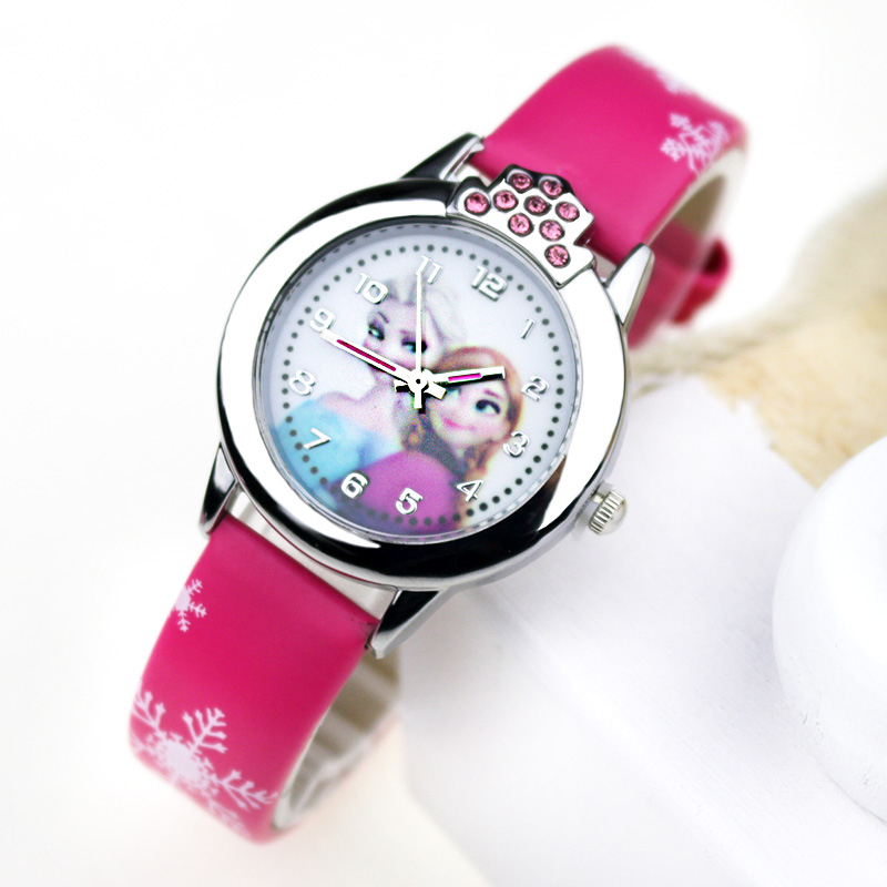 JOYROX Princess Elsa Kids Wacthes Girls Fashion Cartoon Children Watch Leather Strap Quartz Wristwatch 2019 Child Clock