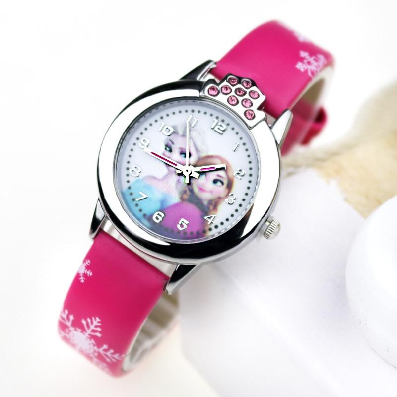 JOYROX Princess Elsa Kids Wacthes Girls Fashion Cartoon Children Watch Leather Strap Quartz Wristwatch 2019 Child Clock