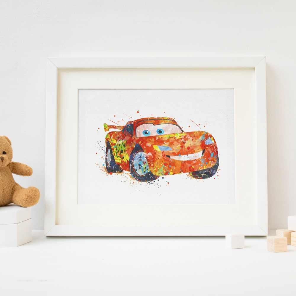 Cars Mcqueen Picture Print Watercolor