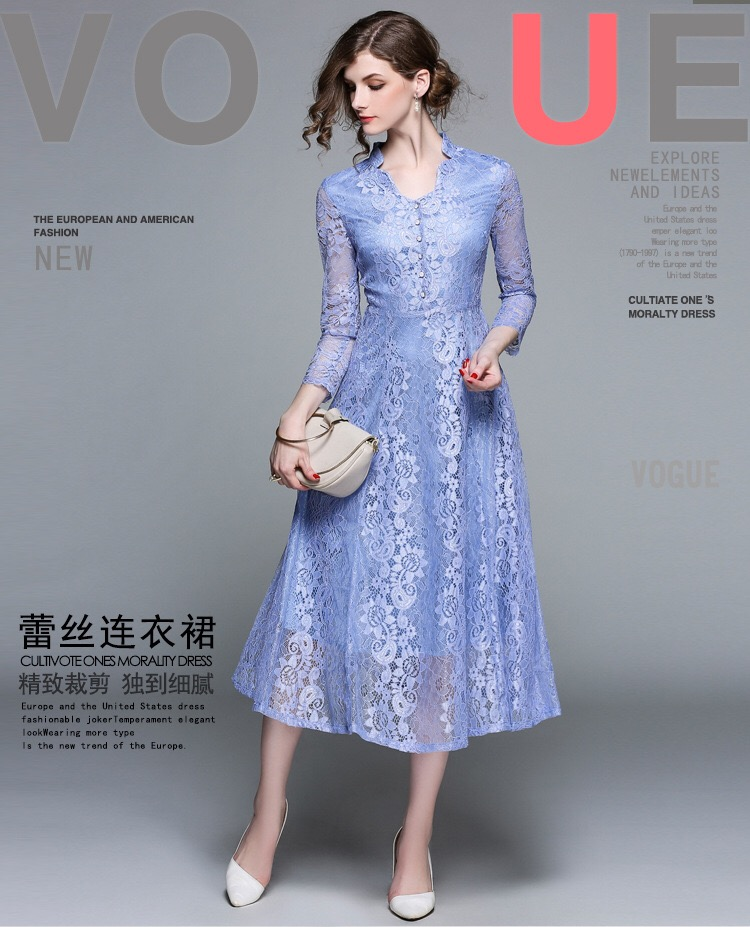 new silk dress long sleeve hollow out white fair maiden european fashion v neck vogue lady