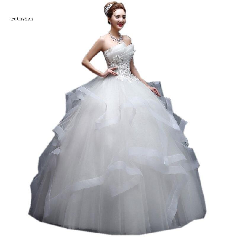 ruthshen 100 Real Photo Princess Ball Gown Pleats Ruffles Appliques Diamond Vestido De Noivas Ruched Tulle