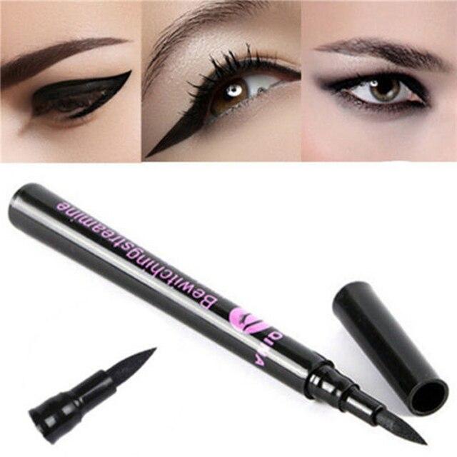 1 Delineador de ojos negro impermeable Delineador de ojos líquido lápiz maquillaje cosmético de larga duración Delineador de ojos