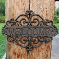European Vintage Cast Iron Garden Wall Decor Welcome Signs Plaques Hollow Metal Plate