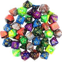 En Kaliteli Kurulu Oyunu 42 adet 6 renk Bulutsusu Etkisi Ile Poker Zar Set d & d d4, d6, d8, d10, d %, d12, d20 Çokyüzlü Zar Rpg Oyunu Dices