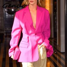 цена на Genuo New 2019 Women Summer Ol Solid Blazer Lapel Collar Long Sleeve Button Tunic Coat Female 2019 Fashion Clothes