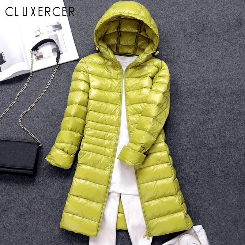 Winter New Arrival   Down   Jacket Women Long White Duck   Down   Jacket Outwear Ultralight Hooded Thin Parka Female Plus Size   Coat