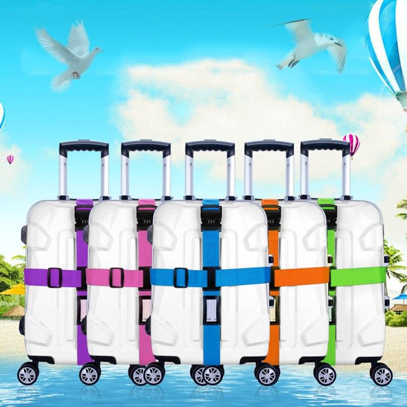 Hot Sale Luggage Strap Cross Belt Packing Adjustable Travel Suitcase Nylon 3 Digits Password Lock Buckle PO66