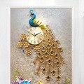 Большой кристалл павлин настенные часы Современный дизайн 3D Роскошные Настенные часы для гостиной домашний декор настенные часы свадебные