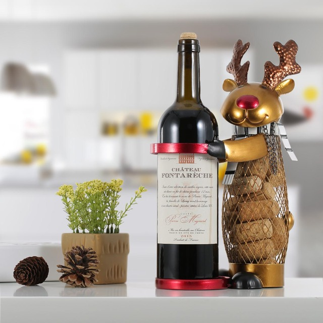 Tooarts Netted Xmas Reindeer Wine Rack Animal Wine Holder Cork Container Practical Crafts for Xmas Decoration Christmas Gift