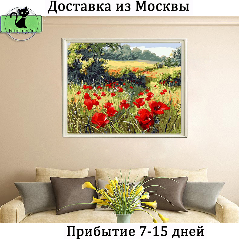(Shipping From  RU) Framed 40x50cm picture DIY digital oil paints - Home Decor