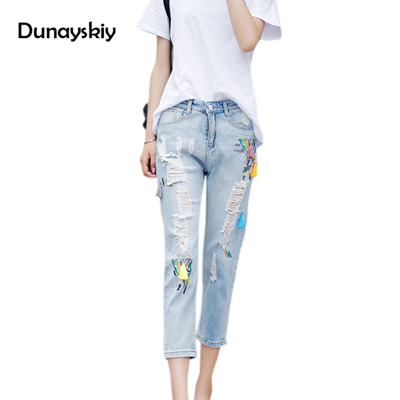 Flower embroidery jeans female Light blue casual pants capris 2017 Autumn Summer Pockets straight jeans women bottom Dunayskiy flower embroidery jeans female white casual pants capris spring summer pockets straight jeans women bottom pu patchwork trousers