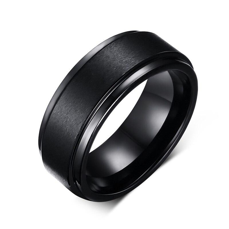 Mens Anelli di BASE 8 MM Wedding Band Nero Pure Carburo di Tungsteno Anello di Fidanzamento per Gli Uomini Opaco Spazzolato Centro Jewelry bague homme