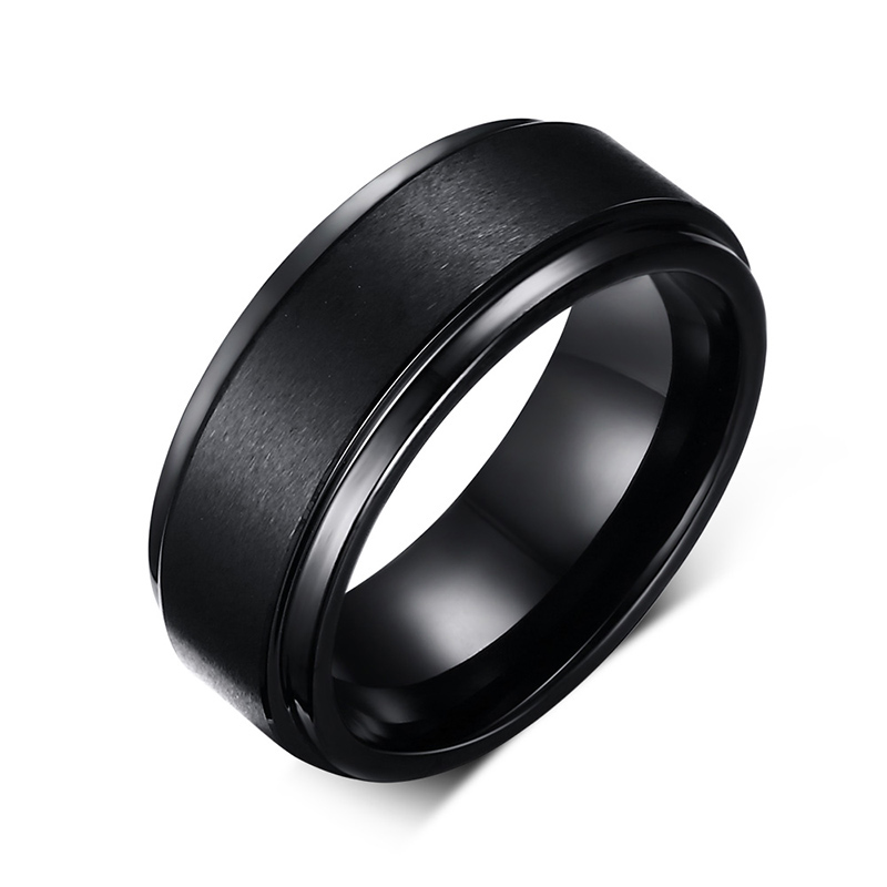 Mens Rings BASIC 8MM Wedding Band Black Pure Tungsten Carbids