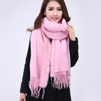 High Quality New Pink Women's 100% Wool Shawl Cashmere Rabbit Fur Pashmina Classic Poncho Scarfs Dropshipping 180x70cm 112304
