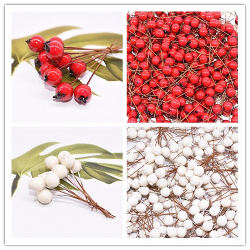 50pcs Mini Fake Fruit Artificial Flowers Stamens Red White Berries Cherry Fake Flower For Wedding Christmas Decoration