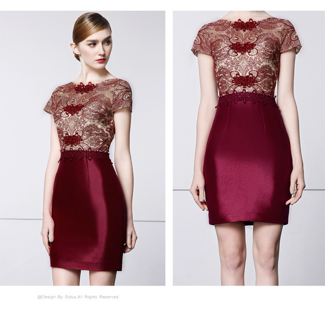 d657edc056 2016 Sexy Burgundy Short Prom Dresses Top with Exquisite Appliques Short  Sleeves 100% Real Picture Prom Party Gowns Formal Dress