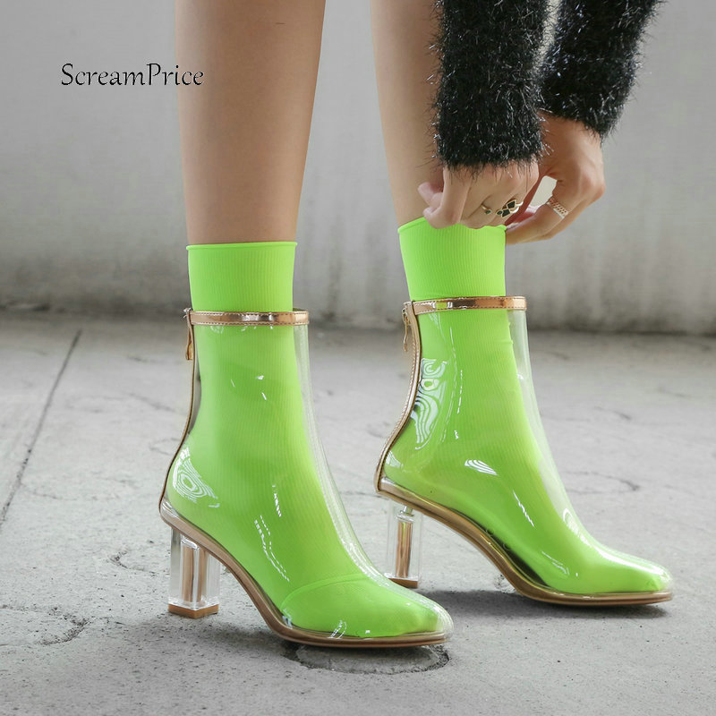 High Quality Women Fashion Transparent Boots High Heel Zipper Ankle Boots Round Toe Spring Autumn Sexy