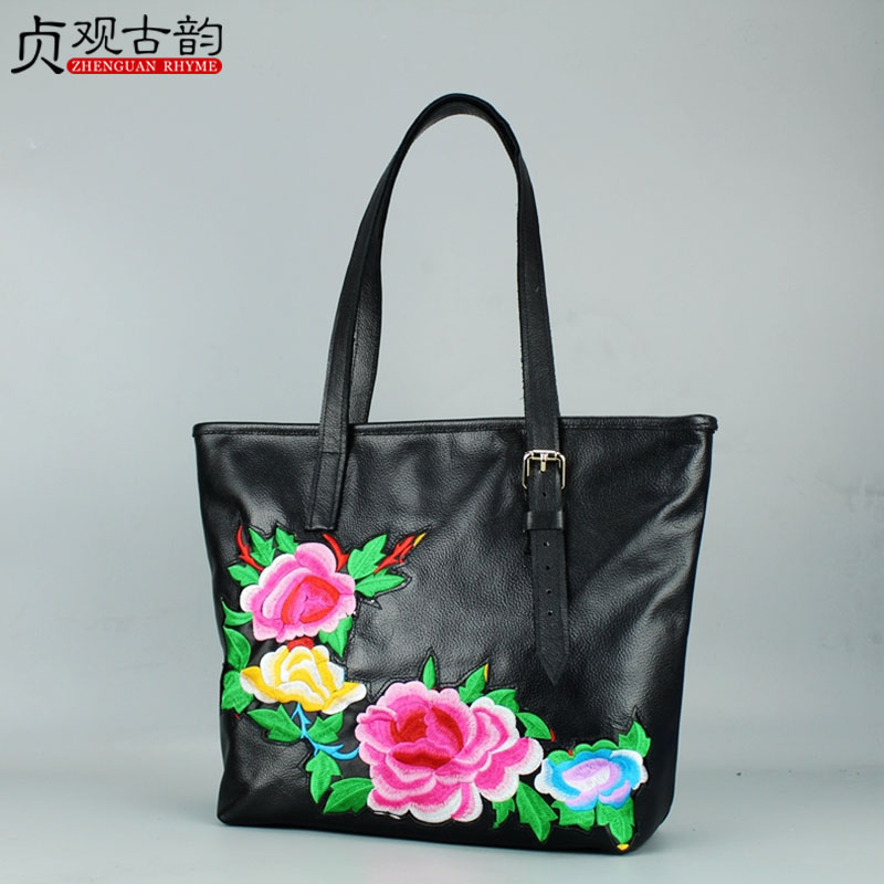 NoEnName Hot sell Genuine Leather ladies Shoulder & Handbags handmade ethnic flowers embroidery Bohemia casual shoulder bag